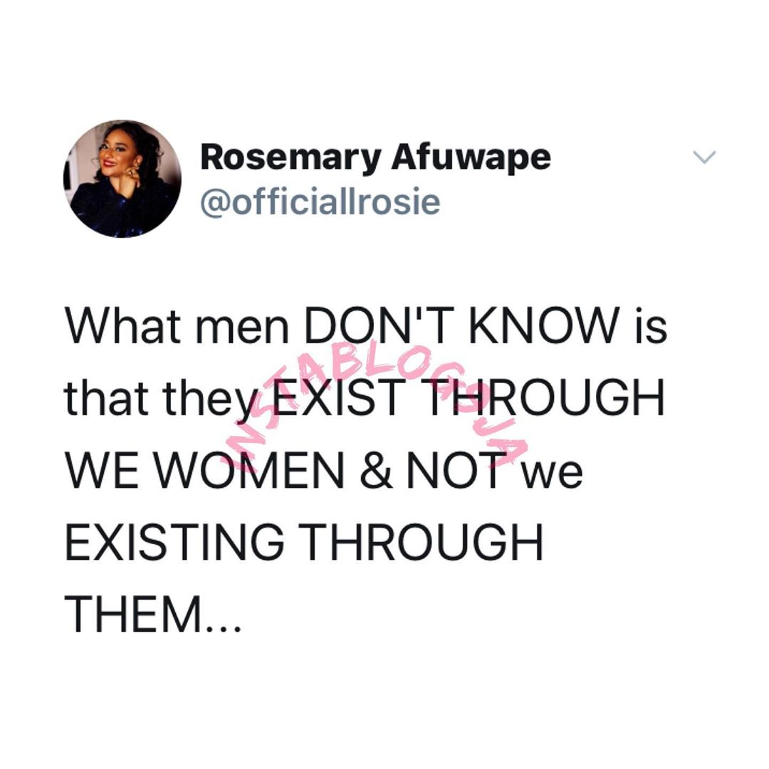 men exist through women